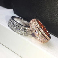 Fashion brand copper jewelry wholesale Rotating four rows of stone rings Men and women couples love ring gift - AAA Discount Store