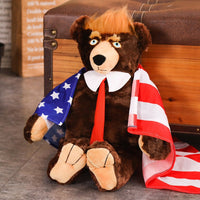 60cm Big Trump Bear Plush Toys USA President Donald Trump Plush Bear with Flag Cloak Collection Doll Gift for Children Boy - AAA Discount Store