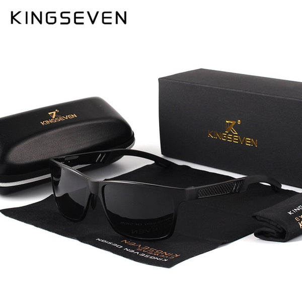 KINGSEVEN Men Polarized Sunglasses Aluminum Magnesium Sun Glasses Driving Glasses Rectangle Shades For Men Oculos masculino Male - AAA Discount Store