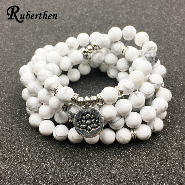Ruberthen Designed Women`s Bracelet Trendy 108 Mala Howlite Lotus Bracelet or Necklace High Quality Yogi Jewelry Gift for Girls - AAA Discount Store