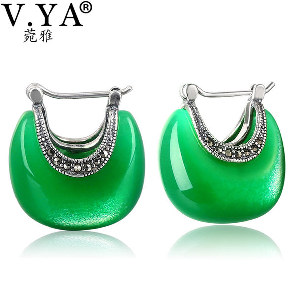 V.YA 925 Sterling Silver Moon Shape Drop earrings Elegant Green Opal Stone earrings Vintage Women earrings Female Fine Jewelry - AAA Discount Store