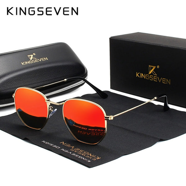 KINGSEVEN 2019 Classic Reflective Sunglasses Men Hexagon Retro Sun glasses Stainless Steel Eyewear Oculos Gafas De Sol Shades - AAA Discount Store