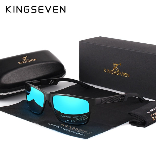 KINGSEVEN Aluminum Square Men/Women Polarized Coating Mirror Sun GlassesEyewear Sunglasses For Men - AAA Discount Store