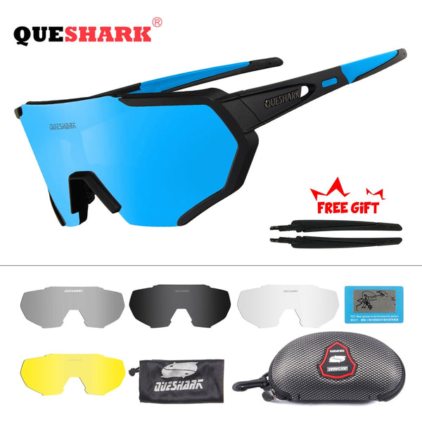 QUESHARK 2019 New Design Polarized Cycling Glasses For Man Women Bike Eyewear Cycling Sunglasses 5 Lens Mirrored UV400 Goggles - AAA Discount Store