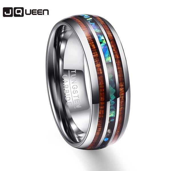 Wood Grain Polishing Men Rings Middle 100% Tungsten Carbide Wedding Bands Multi-size - AAA Discount Store