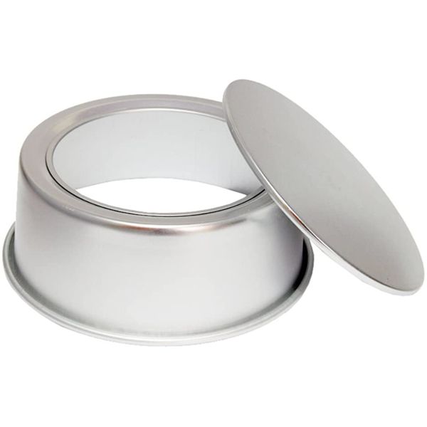 Cake Pan Silver Removable Lid 7in x 2.5in - bakeware bake house kitchenware bakers supplies baking