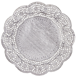 "Doilies Baking Paper Mat Silver 4"" 10cm - bakeware bake house kitchenware bakers supplies baking"