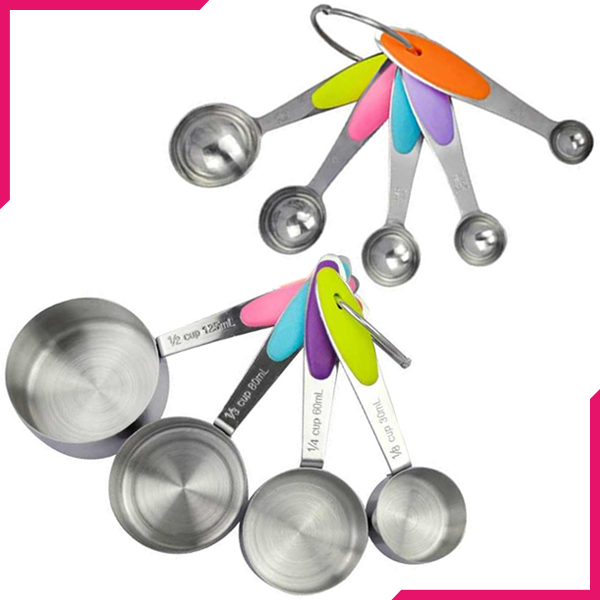 Steel Measuring Cups & Spoons Set - bakeware bake house kitchenware bakers supplies baking