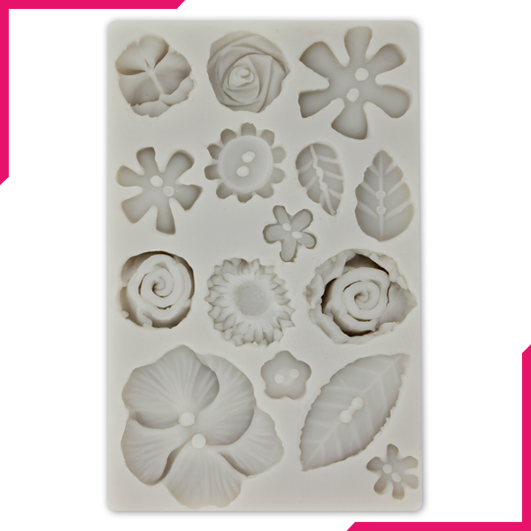 Silicone Fondant Mold 15 Flowers - bakeware bake house kitchenware bakers supplies baking