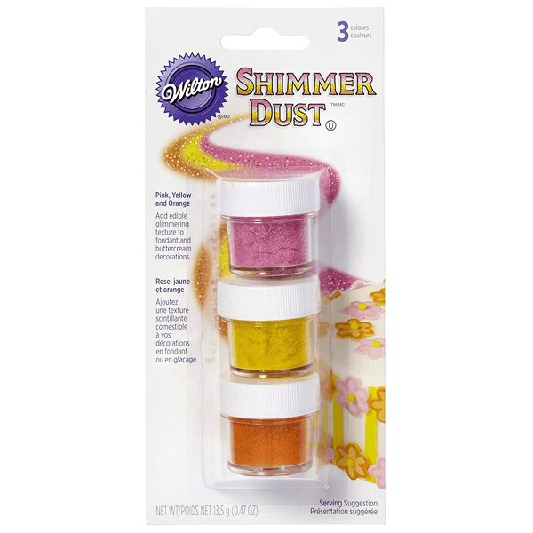 Edible Shimmer Dust - Pink, Yellow and Orange - bakeware bake house kitchenware bakers supplies baking