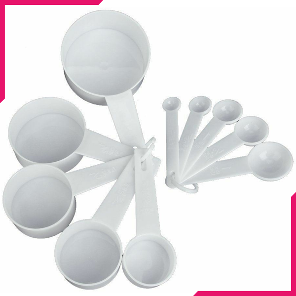 Measuring Cups & Spoons White - bakeware bake house kitchenware bakers supplies baking