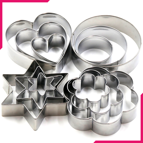 Cookie Cutter Steel 4 Shapes - bakeware bake house kitchenware bakers supplies baking