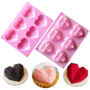 3D Love Heart Diamond Shaped Silicone Mold - bakeware bake house kitchenware bakers supplies baking