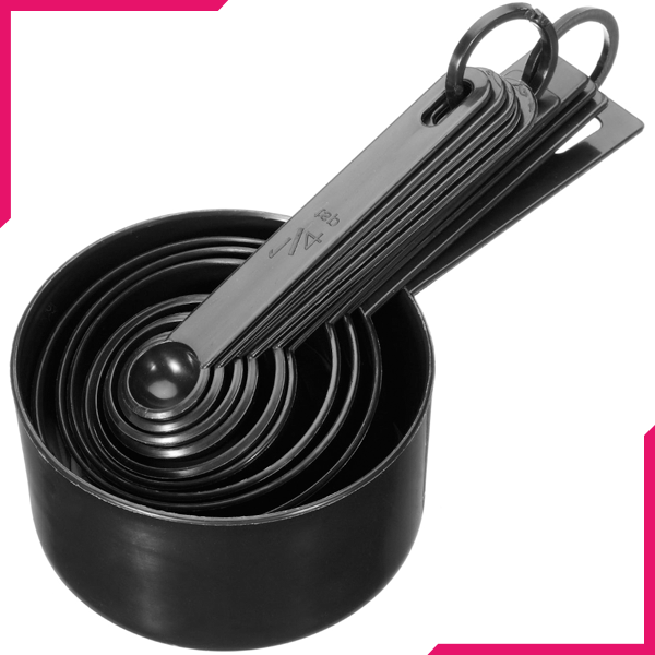 Measuring Cups and Spoons Set Black - bakeware bake house kitchenware bakers supplies baking