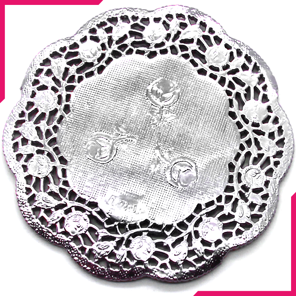 "Doilies Baking Paper Mat Silver 9cm 3.5"" - bakeware bake house kitchenware bakers supplies baking"