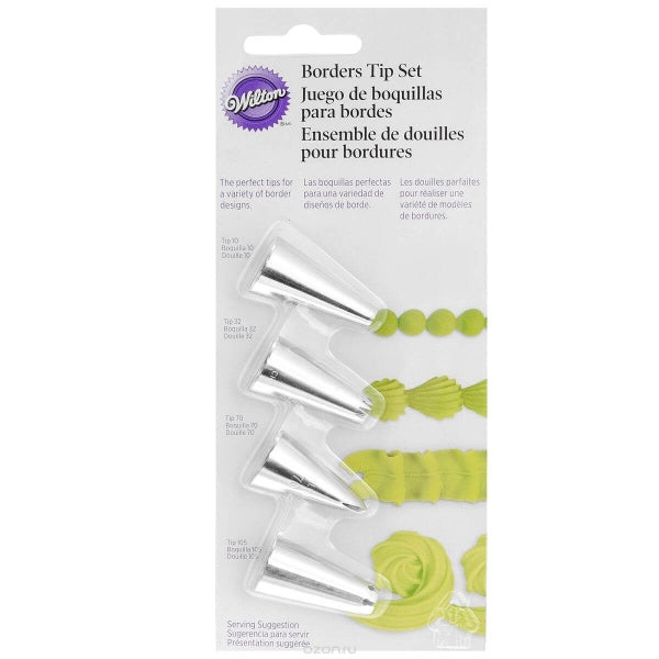 Wilton Borders Tip Set - 4pcs - bakeware bake house kitchenware bakers supplies baking
