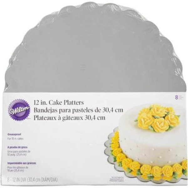 Wilton Round Silver Cake Platter 12 in. - bakeware bake house kitchenware bakers supplies baking