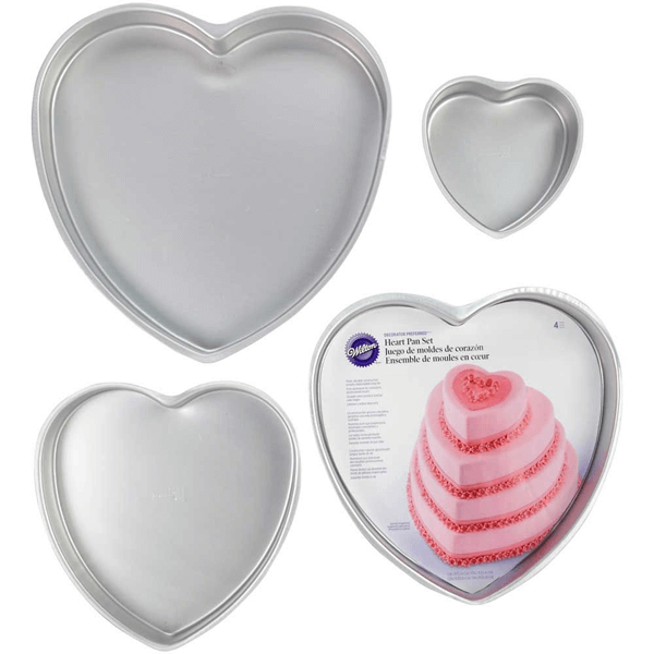 Wiltons Decorator Preferred Heart Pan Set - 4pcs - bakeware bake house kitchenware bakers supplies baking