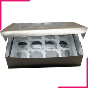 Silver Cupcake Box - 12 cupcakes - bakeware bake house kitchenware bakers supplies baking
