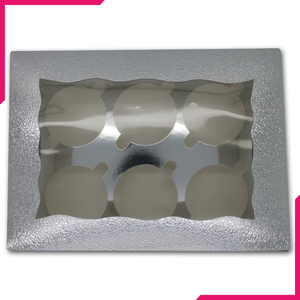 Silver Cupcake Box - 6 Cavity - bakeware bake house kitchenware bakers supplies baking