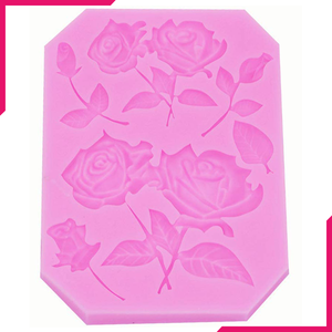 Rose With Leaves Silicone Fondant Mold - bakeware bake house kitchenware bakers supplies baking