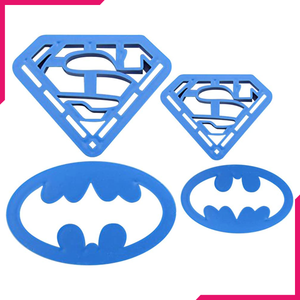 Batman & Superman Cookie & Fondant Cutter 4pcs - bakeware bake house kitchenware bakers supplies baking