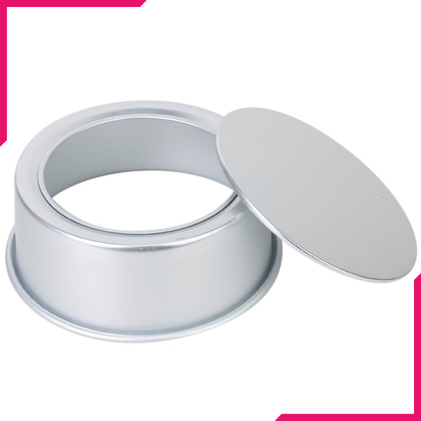 Cake Pan Silver Removable Lid 8in x 2.5in - bakeware bake house kitchenware bakers supplies baking