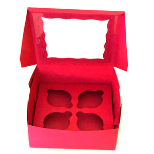 Pink Cupcake Box - 4 cupcakes - bakeware bake house kitchenware bakers supplies baking
