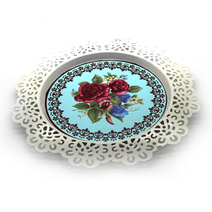 Cake Serving Plate Roses Design 8 in