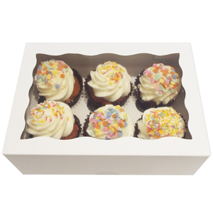 White Cupcake Box - 6 Cavity - bakeware bake house kitchenware bakers supplies baking