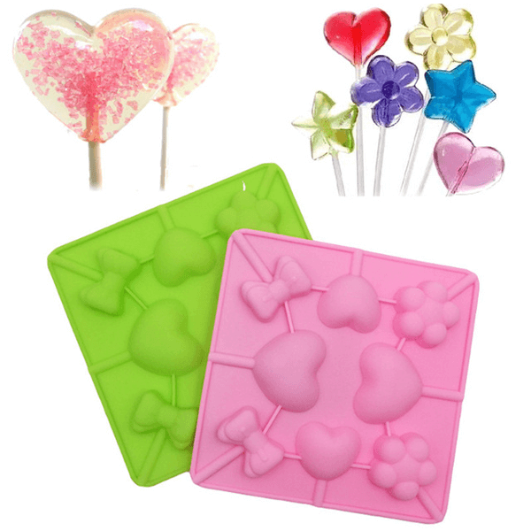 Pink Silicone Lollipop Mold 3 Shapes - bakeware bake house kitchenware bakers supplies baking