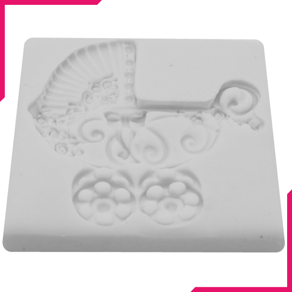 Baby Cart Silicone Fondant Mold - bakeware bake house kitchenware bakers supplies baking