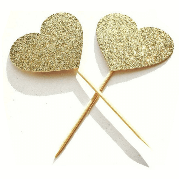 Small Heart Golden Party Topper 6 Pcs - bakeware bake house kitchenware bakers supplies baking