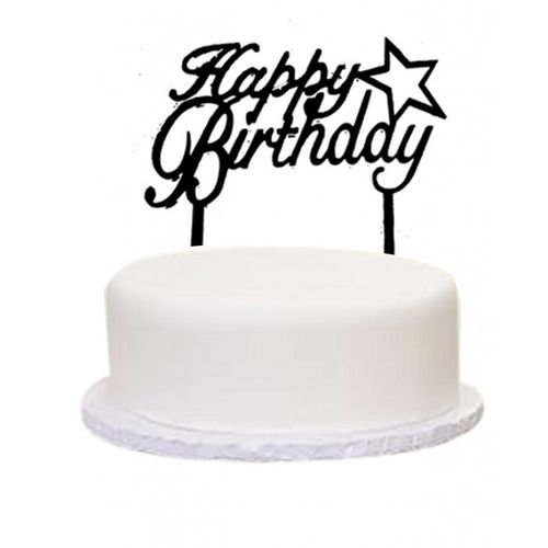 Cake Topper Happy Birthday Star Black - bakeware bake house kitchenware bakers supplies baking