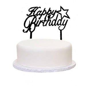 Cake Topper Happy Birthday Star Black