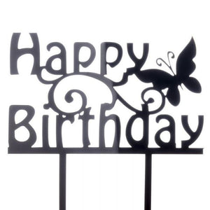 Cake Topper Happy Birthday Butterfly Black