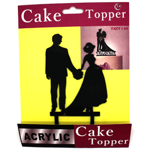 Cake Topper Bride And Groom Black
