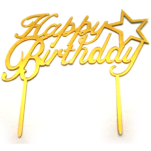 Cake Topper Happy Birthday Star Golden - bakeware bake house kitchenware bakers supplies baking