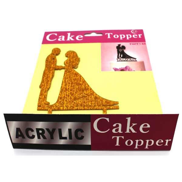 Cake Topper Bride And Groom Golden - bakeware bake house kitchenware bakers supplies baking
