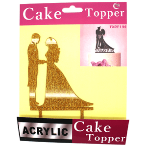 Cake Topper Bride And Groom Golden
