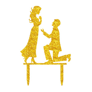 Cake Topper Engagement Golden