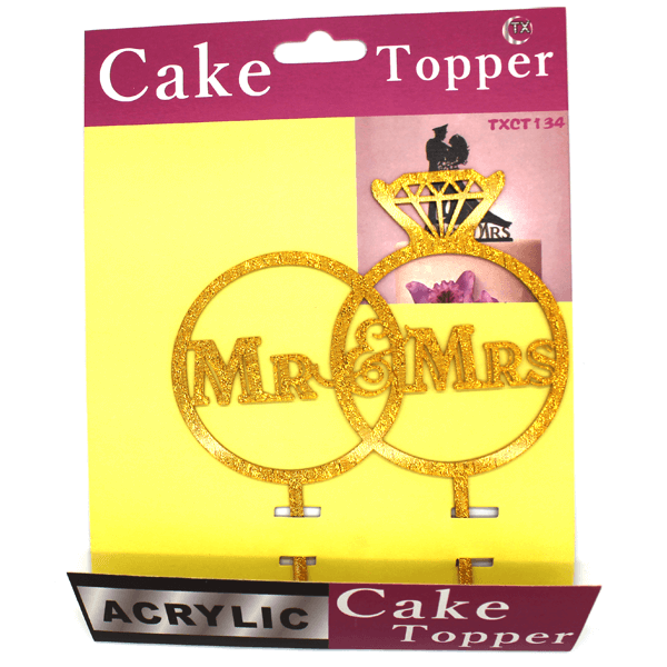 Cake Topper Mr And Mrs Golden - bakeware bake house kitchenware bakers supplies baking