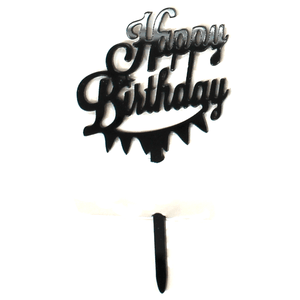 Cupcake Topper Happy Birthday Black 8 Pcs
