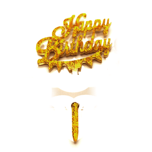 Cupcake Topper Happy Birthday Golden 8 Pcs - bakeware bake house kitchenware bakers supplies baking