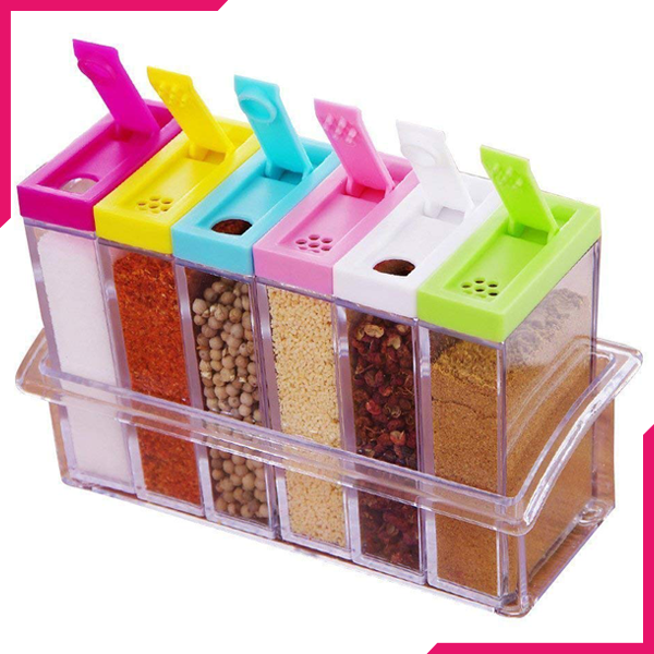 Transparent Seasoning Box Six Pcs set - bakeware bake house kitchenware bakers supplies baking