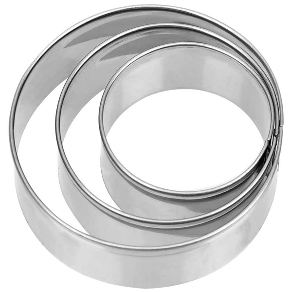 Cake Ring Stainless Steel Cutter 3Pcs Set 20cm, 15cm, 10cm - bakeware bake house kitchenware bakers supplies baking
