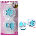 Flower and leaves Plunge Cutter Stamp - bakeware bake house kitchenware bakers supplies baking