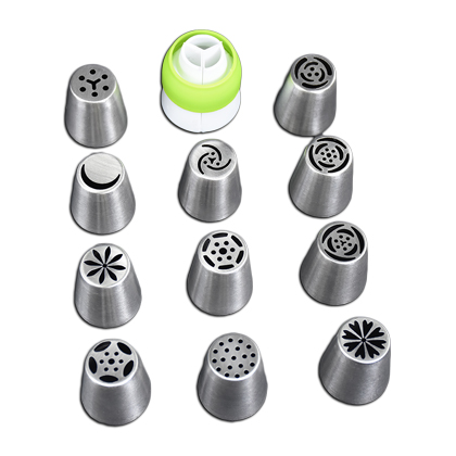 Russian Nozzle/tip 11Pcs Set With Coupler - bakeware bake house kitchenware bakers supplies baking