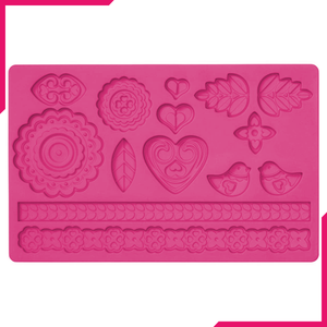 Folk Art Fondant Silicone Mold - bakeware bake house kitchenware bakers supplies baking