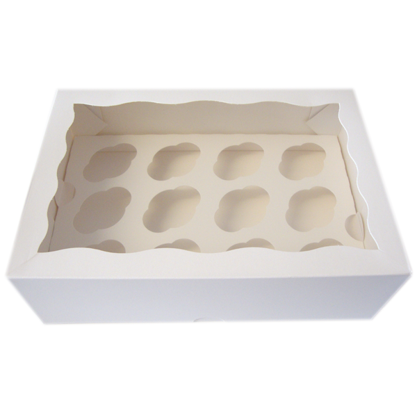 White Cupcake Box - 12 Cupcakes - bakeware bake house kitchenware bakers supplies baking